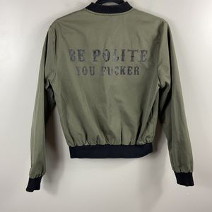 "Gypsy Warrior ""Be Polite you F....."" Bomber size S"